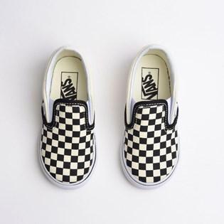 Tênis Vans Kids Classic Slip On Black White Checkerboard VN000EX8BWW