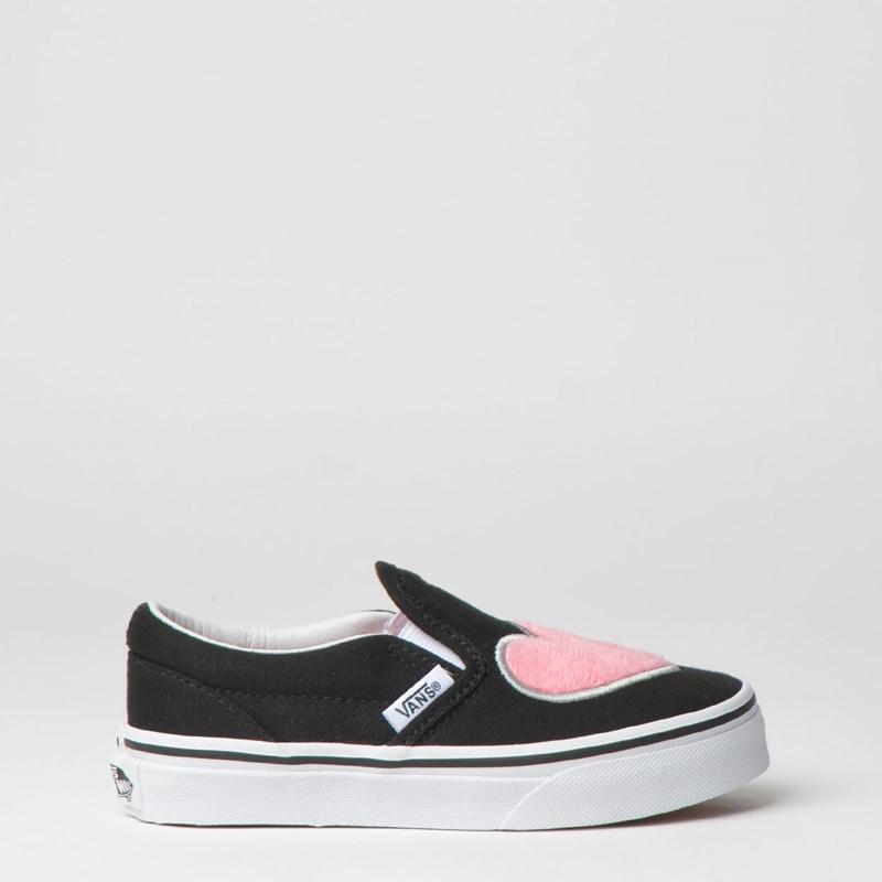 Tênis Vans Kids Classic Slip On Fur Heart Strawberry Pink Black VN0A32QIVJCP
