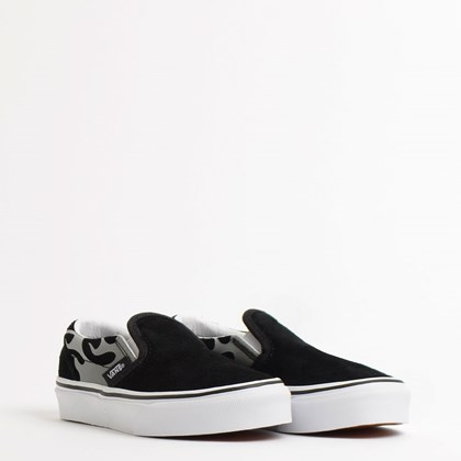 Tênis Vans Kids Classic Slip On Suede Flame Black True White VN0A4BUTWKJ