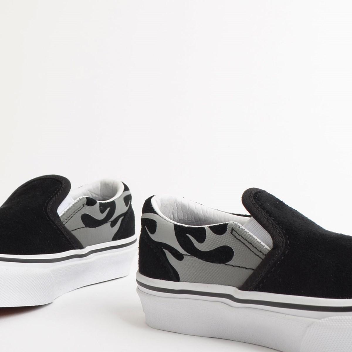 Tênis Vans Kids Classic Slip On Suede Flame Black True White VN0A4BUTWKJ