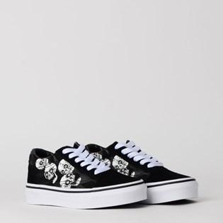 Tênis Vans Kids Old Skool Glossy Flame Skulls Black VN0A4BUUXNP