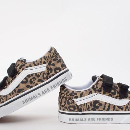Tênis Vans Kids Old Skool V Animal Checkerboard Leopard Black VN0A38JNWKA