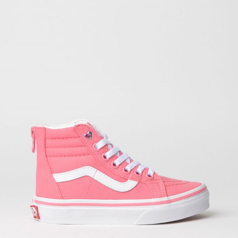 Tênis Vans Kids Sk8 Hi Zip Heart Eyelet Strawberry Pink True White VN0A3276VIIP