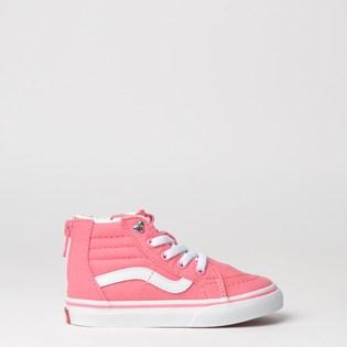 Tênis Vans Kids Sk8 Hi Zip Heart Eyelet Strawberry Pink True White VN0A32R3VIIP