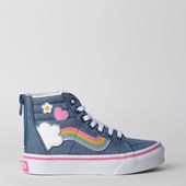 Tênis Vans Kids Sk8 Hi Zip Rainbow Sidestripe Denim True White VN0A4BUXV3U