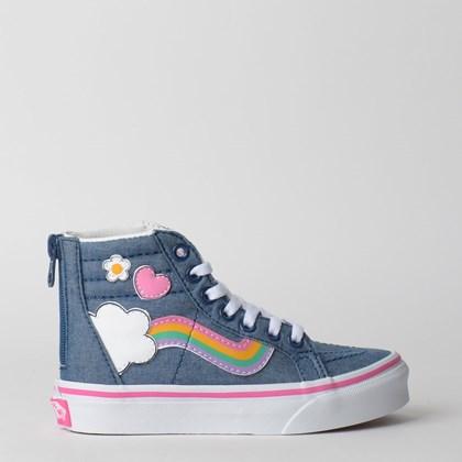 Tênis Vans Kids Sk8 Hi Zip Rainbow Sidestripe Denim True White VN0A4BUXV3U