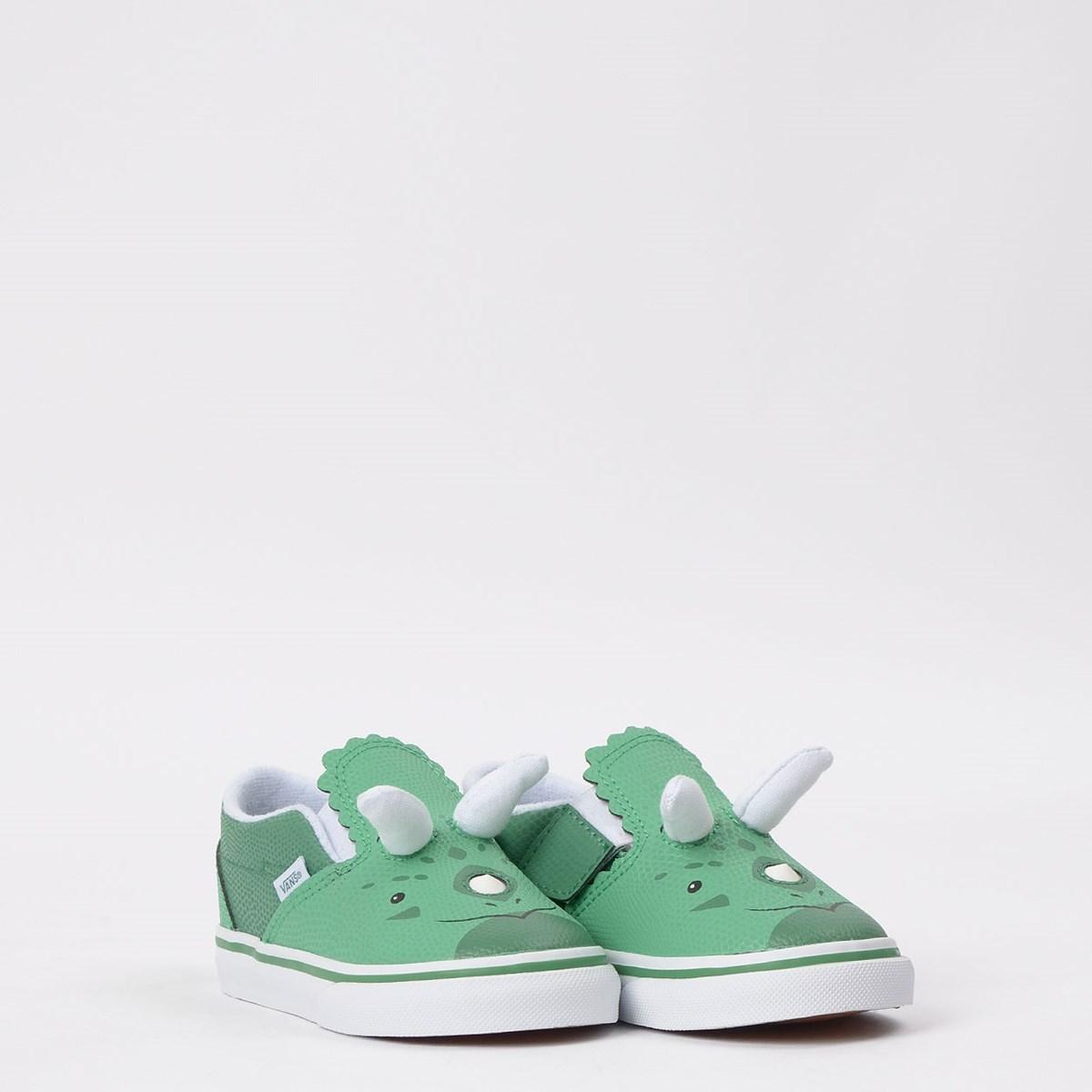Tênis Vans Kids Slip On V Dino Triceratops True White Green VN0A4UWD17L