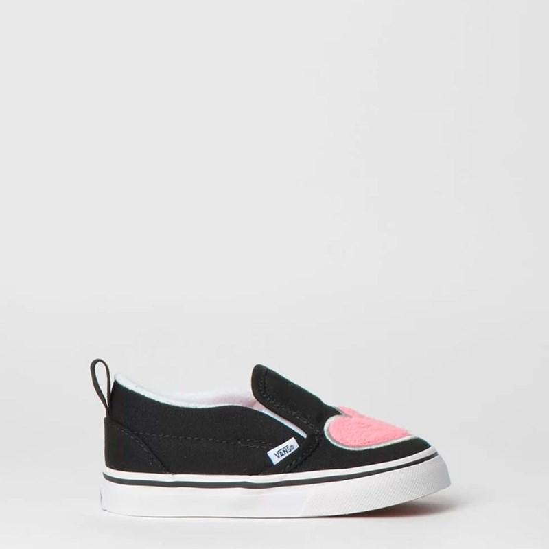 Tênis Vans Kids Slip On V Fur Heart Strawberry Pink Black VN0A3488VJCP