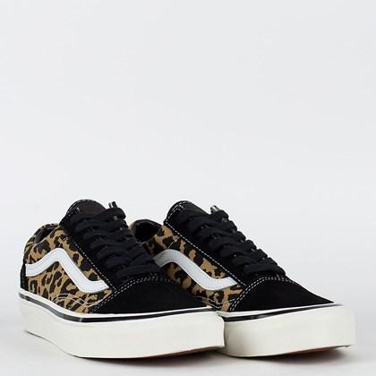 Tênis Vans Old Skool Anaheim Factory 36 Dx Black Tan Leopard VN0A54F39GI