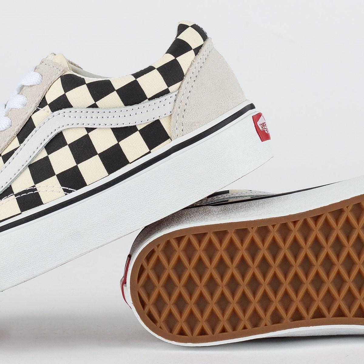 Tênis Vans Old Skool Checkerboard White Black VN0A38G127K