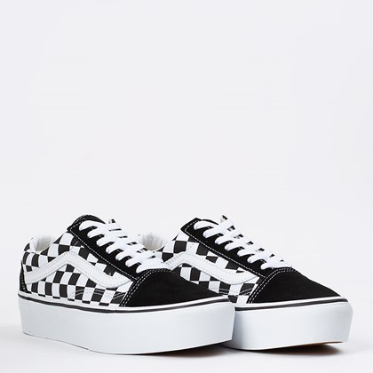Tênis Vans Old Skool Platform Checkerboard Black True White VN0A3B3UHRK