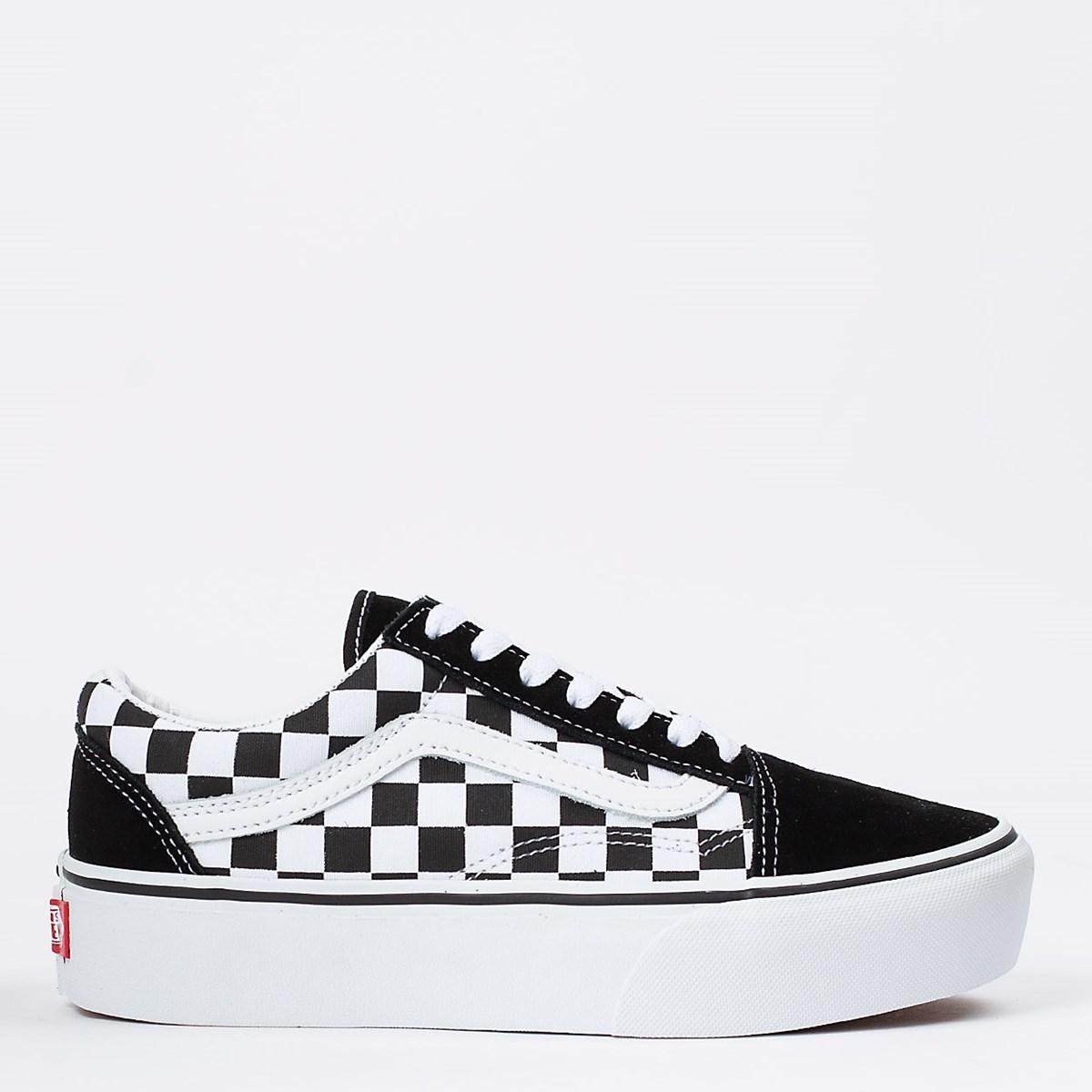 Tênis Vans Old Skool Platform Checkerboard Black True White VN0A3B3UHRK