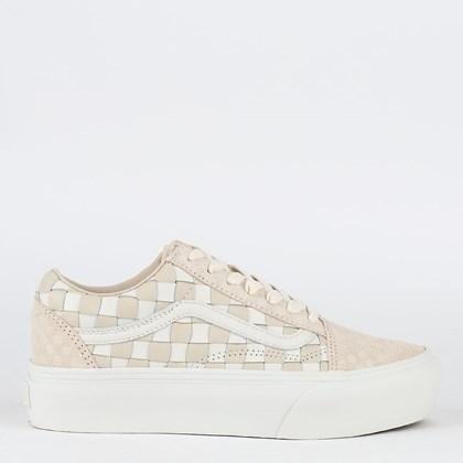 Tênis Vans Old Skool Platform Woven Checkerboard Leather Blanc De Blanc VN0A5KX99GY