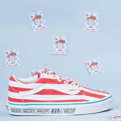 Tênis Vans Old Skool Wheres Waldo International Stripes Red White VN0A3WKT3UV