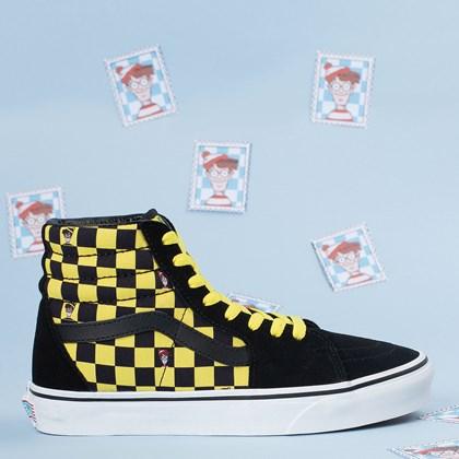 Tênis Vans SK8 Hi Wheres Waldo Odlaw Black Yellow VN0A32QG4UE