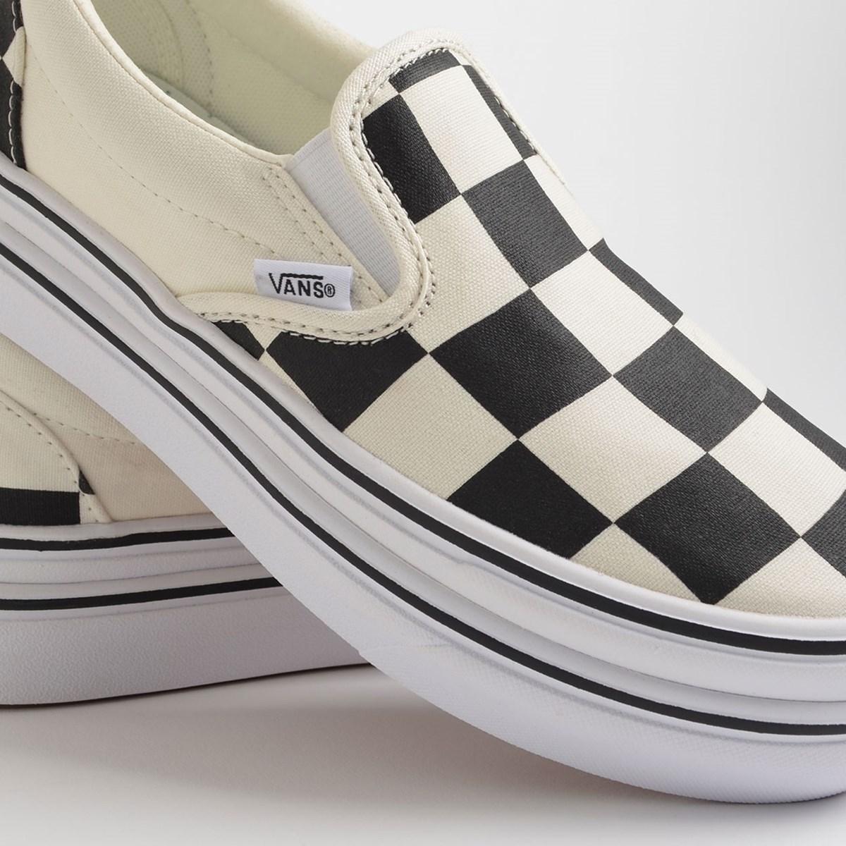 Tênis Vans Super Comfycush Slip On Big Classics Checker Black Off White VN0A4U1FXT4