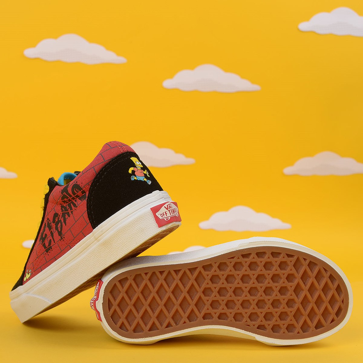 Tênis Vans The Simpsons Old Skool Kids El Barto Black Red VN0A4BUU17A