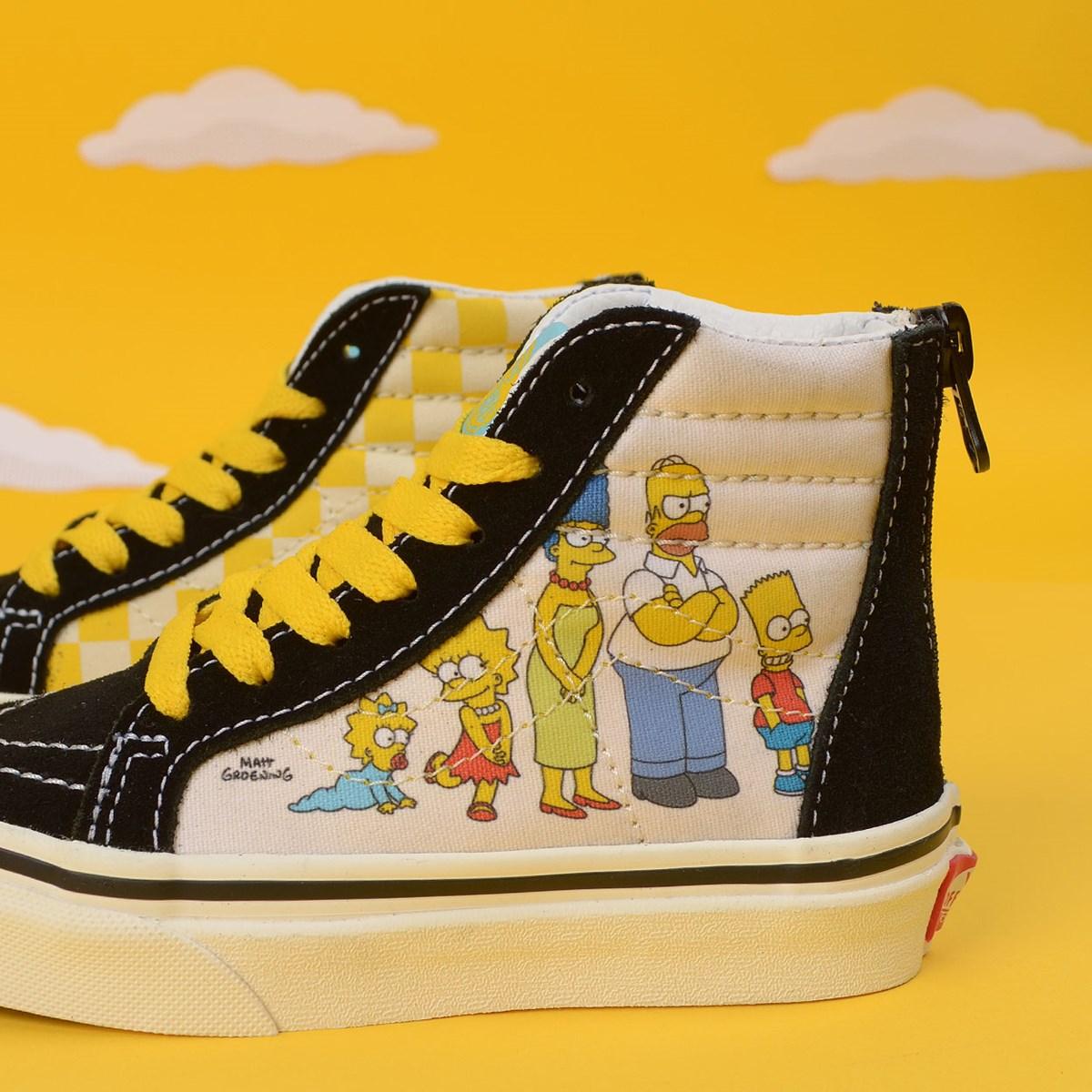 Tênis Vans The Simpsons Sk8 Hi Kids Zip 1987 - 2020 Black White VN0A4BUX17E