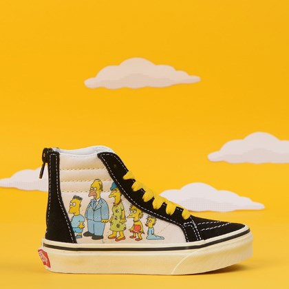 Tênis Vans The Simpsons Sk8 Hi Kids Zip 1987 - 2020 Black White VN0A4BUX17E