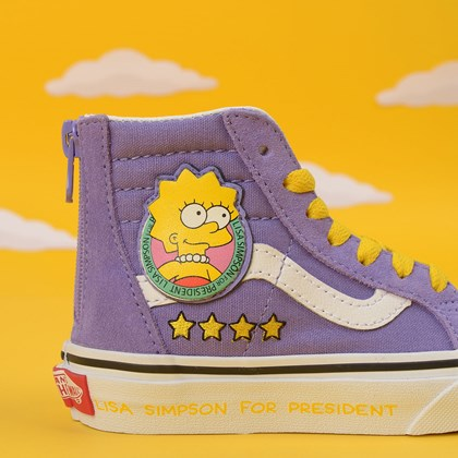 Tênis Vans The Simpsons Sk8 Hi Zip Kids Lisa 4 President Roxo VN0A4BUX17G