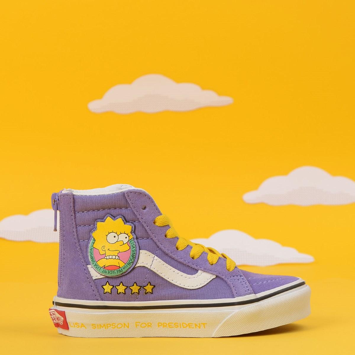 Tênis Vans The Simpsons Sk8 Hi Zip Kids Lisa 4 President Roxo VN0A4BUX17G