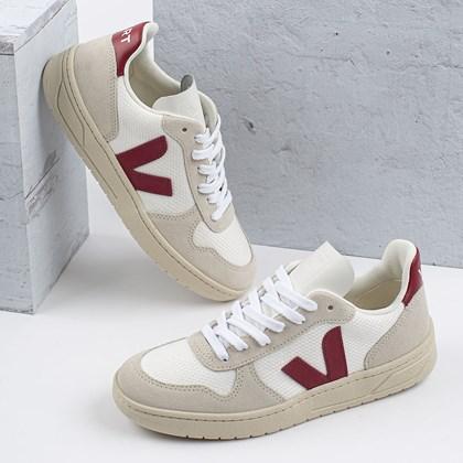 Tênis Vert Shoes V-10 B-Mesh White Natural Marsala VX011314