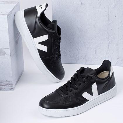 Tênis Vert Shoes V-10 Leather Black White White Sole VX022268
