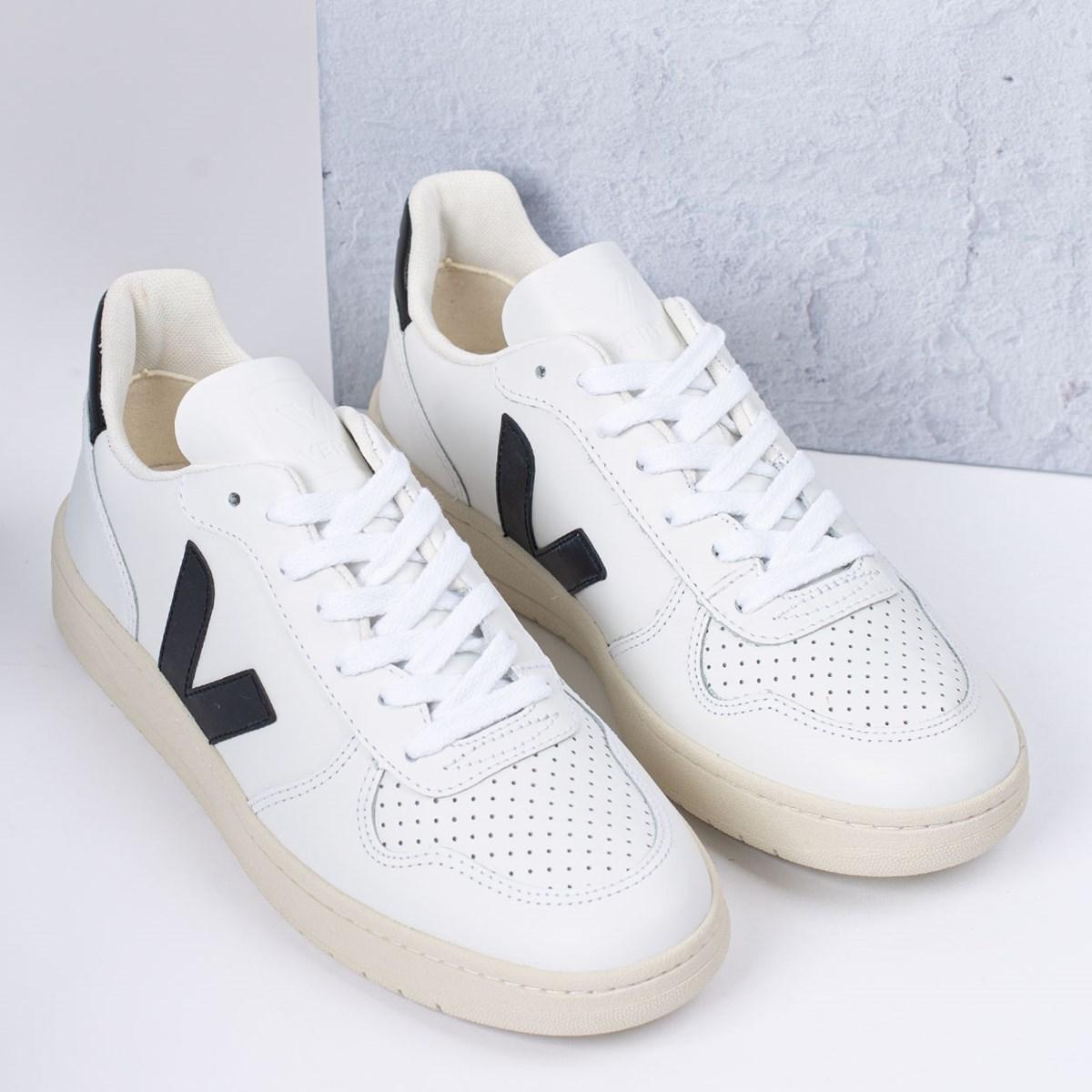 Tênis Vert Shoes V-10 Leather Extra White Black VX020005