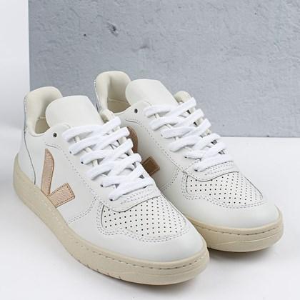 Tênis Vert Shoes V-10 Leather Extra White Platine Silver VX022605