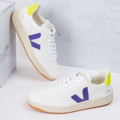Tênis Vert Shoes V-12 B-Mesh Vegan White Purple Jaune Fluo XD012491
