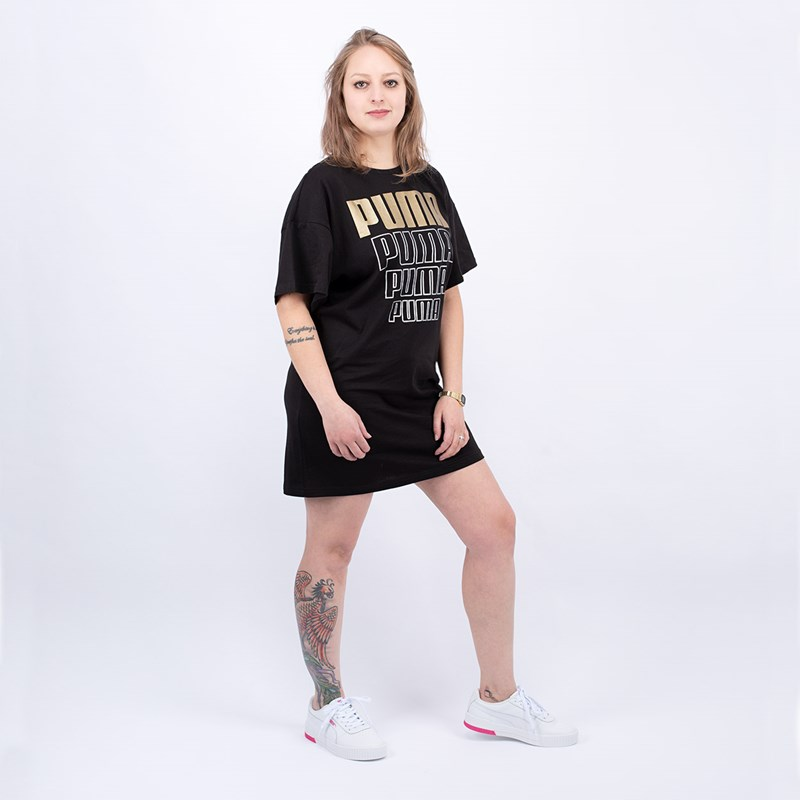 Vestido Puma Feminino Rebel Light Weight Tee Dress Black 58131451